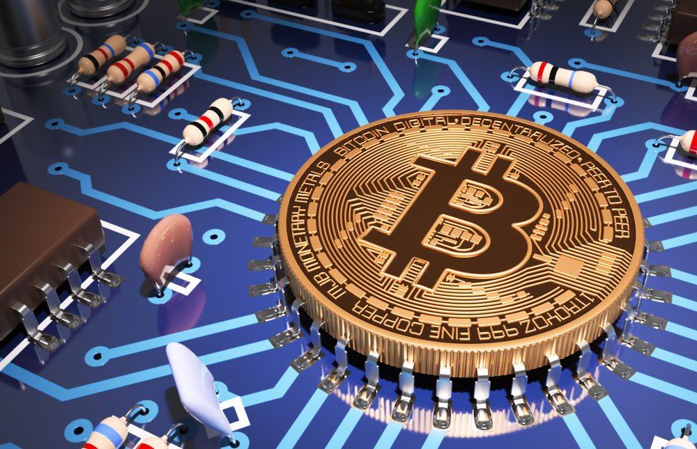 le bitcoin dans un circuit imprimée